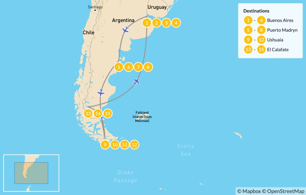 Map of Best of Buenos Aires and Patagonia, Argentina - 16 Days