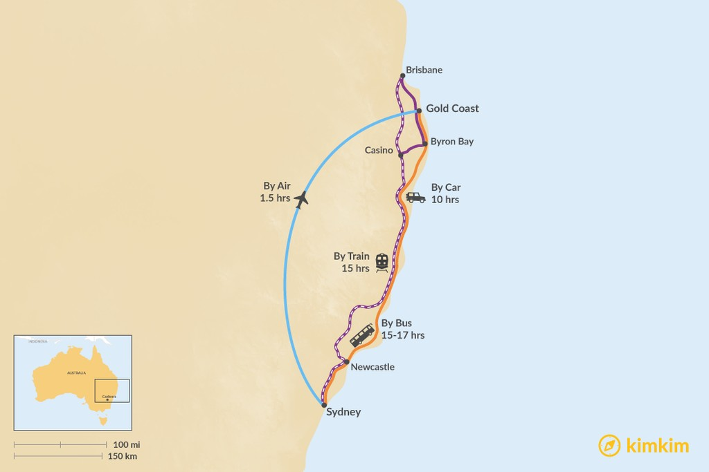 Map of How to Get from Sydney to the Gold Coast