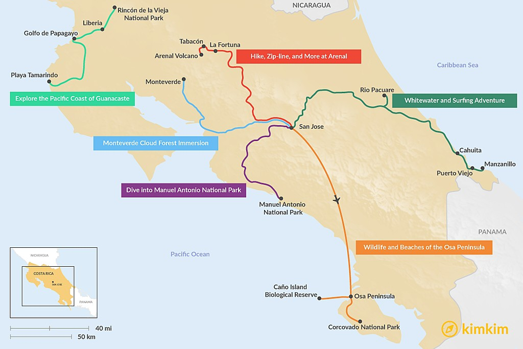 Map of 5 Days in Costa Rica - 6 Unique Itineraries