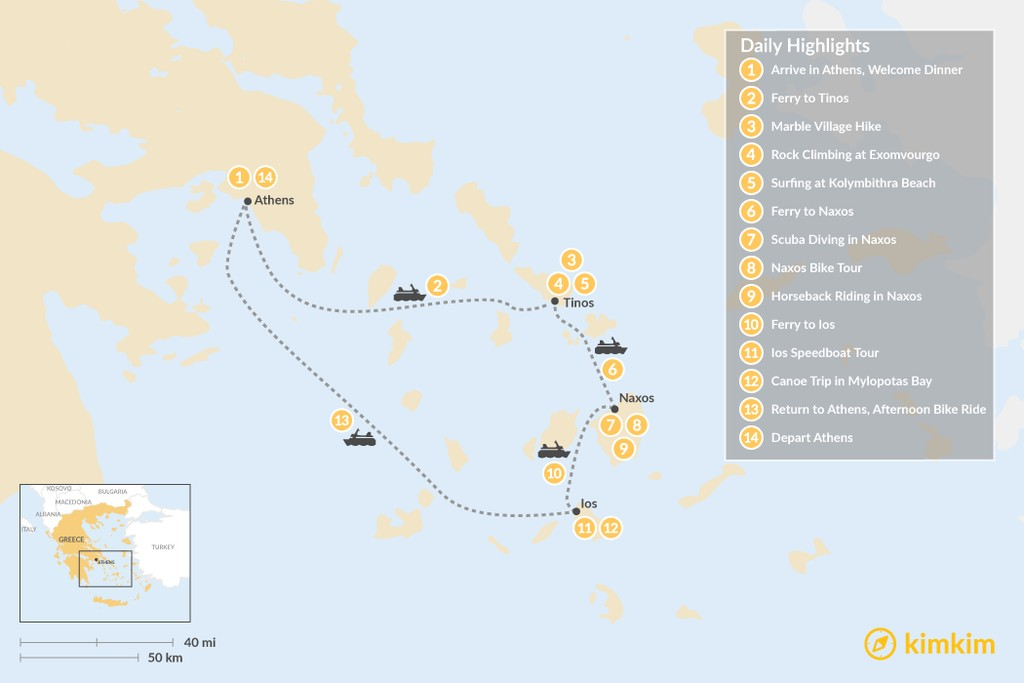 Map of Active Cyclades: Tinos, Naxos & Ios - 14 Days