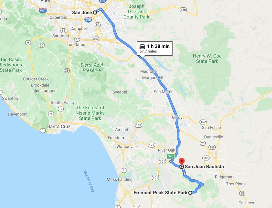 Map of Fremont Peak State Park and San Juan Bautista - SF Bay Area day trip