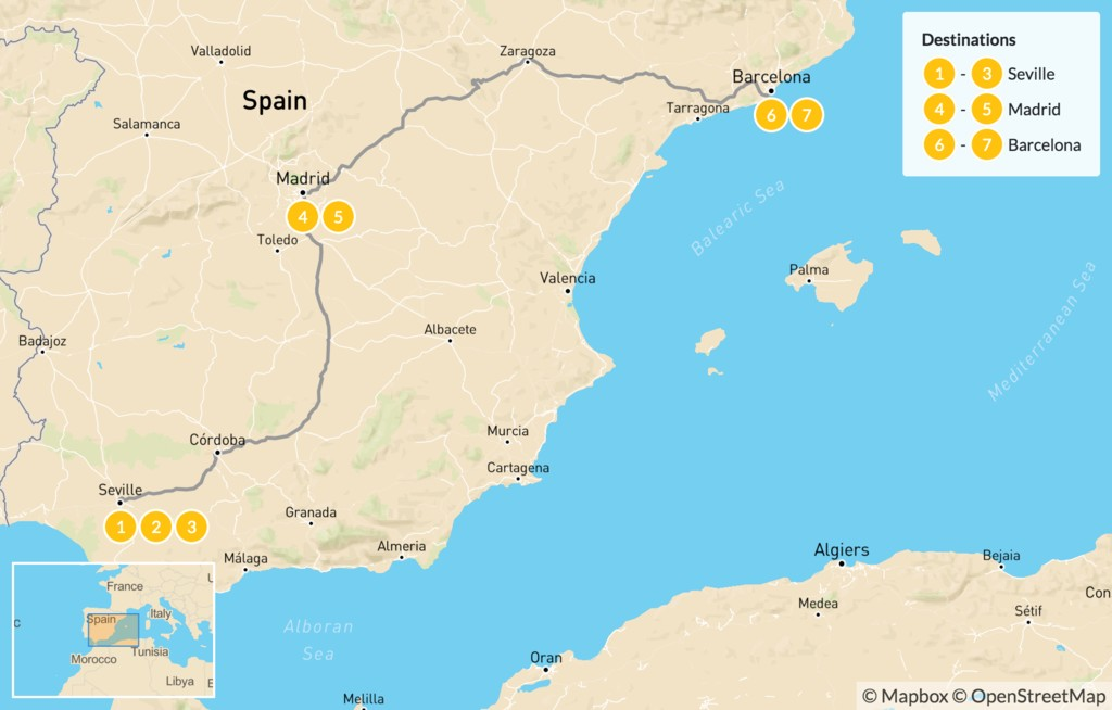 Map of Best of Spain Highlights: Seville, Madrid & Barcelona - 8 Days