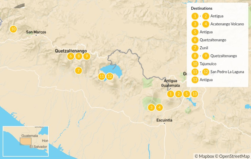 Map of Guatemalan Volcano Trek Adventure - 14 Days