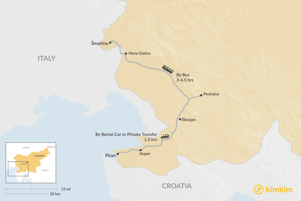 Map of How to Get from Goriška Brda to Piran