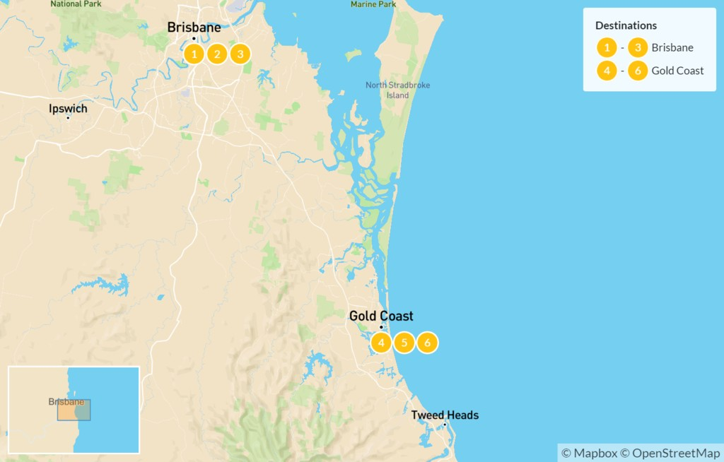 Map of Australian Family Holiday: Brisbane & Gold Coast - 7 Days
