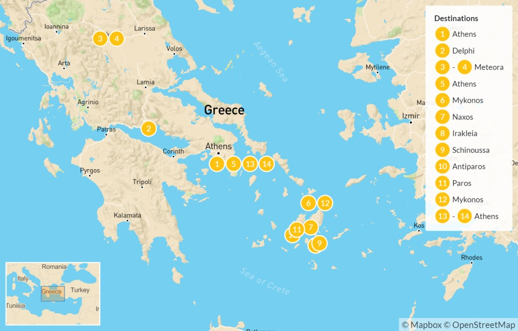Map of Greek Islands & Ancient History: Mykonos, Delphi, Meteora, & More - 15 Days