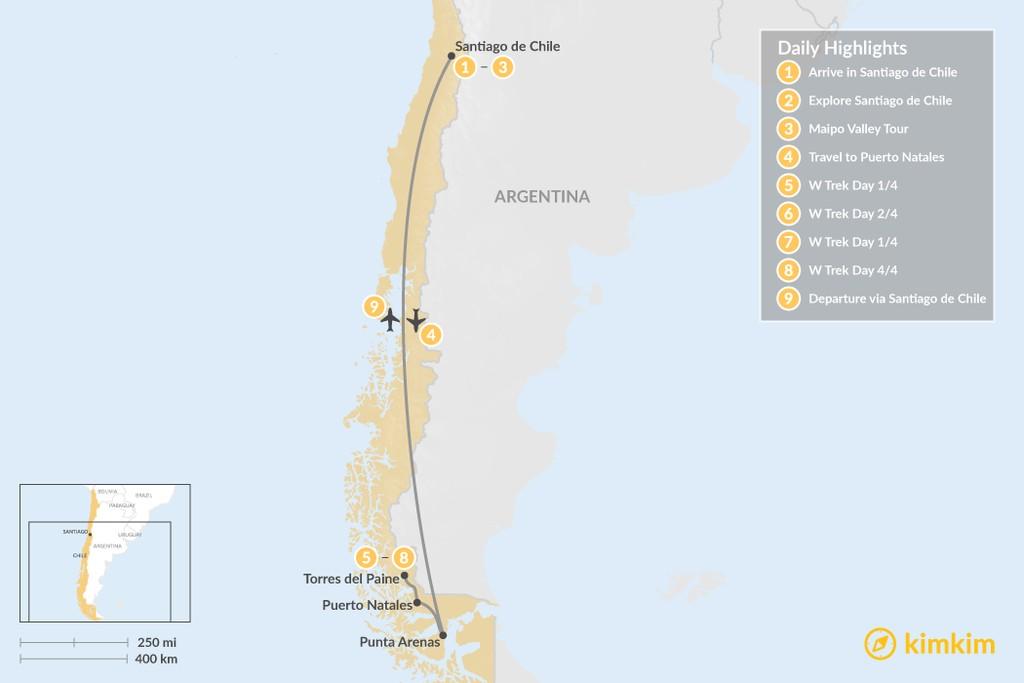 Map of Santiago & Modified W Trek Adventure - 9 Days
