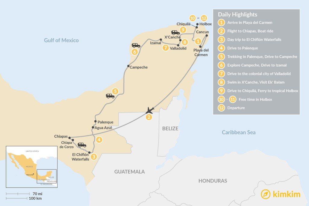 Map of Highlights of Southern Mexico: Chiapas &  Yucatán - 12 Days