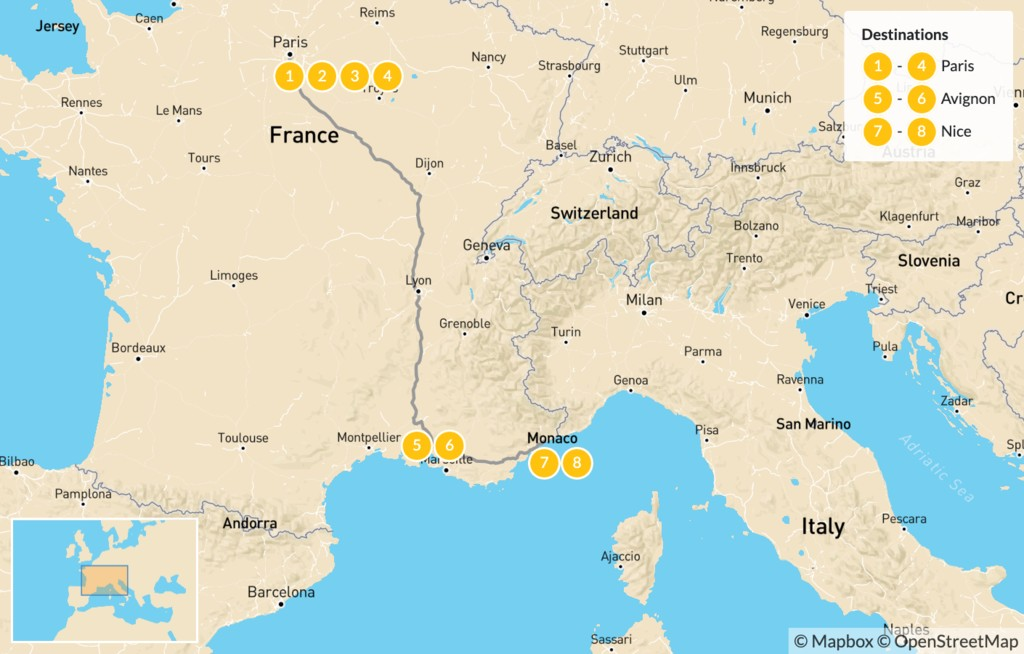 Map of Honeymoon Romance in France: Paris & the French Riviera - 9 Days