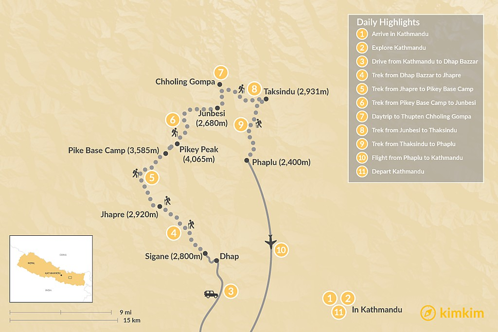 Map of Pikey Peak Trek: Dhap, Jhapre, Pikey Peak, Junbesi, Takasindu - 11 Days