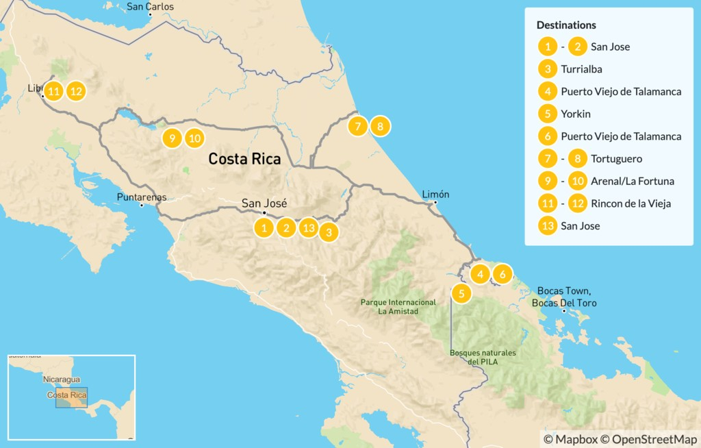 Map of Costa Rica Culture on the Coast & Arenal - 14 Days