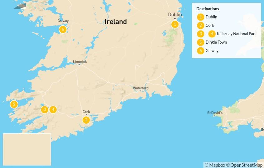 Map of Ultimate Ireland Road Trip: Dublin, Killarney, Dingle & Galway - 7 Days