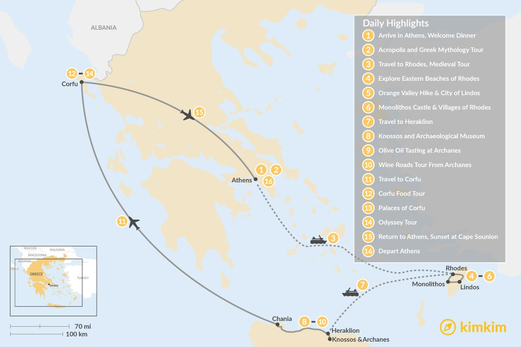 Map of Discover Rhodes, Crete, and Corfu - 16 Days