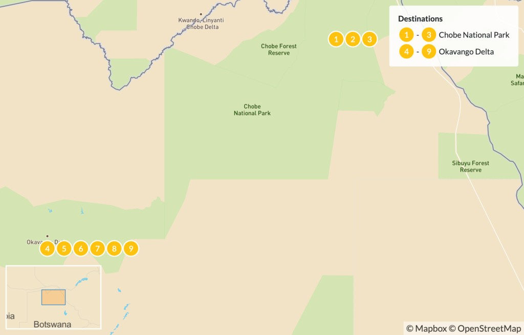 Map of Botswana Family Safari: Chobe & Okavango Delta - 10 Days