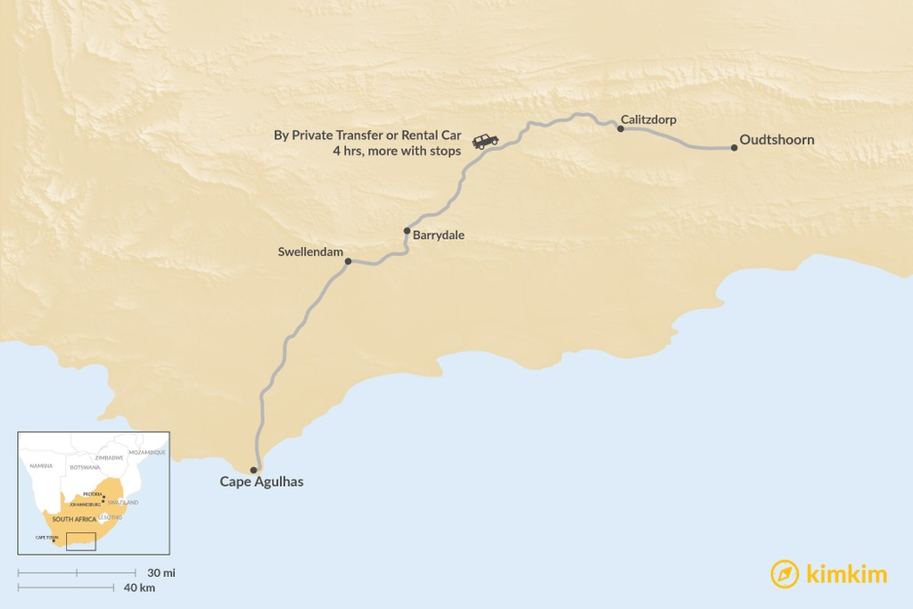 Map of How to Get from Cape Agulhas to Oudtshoorn