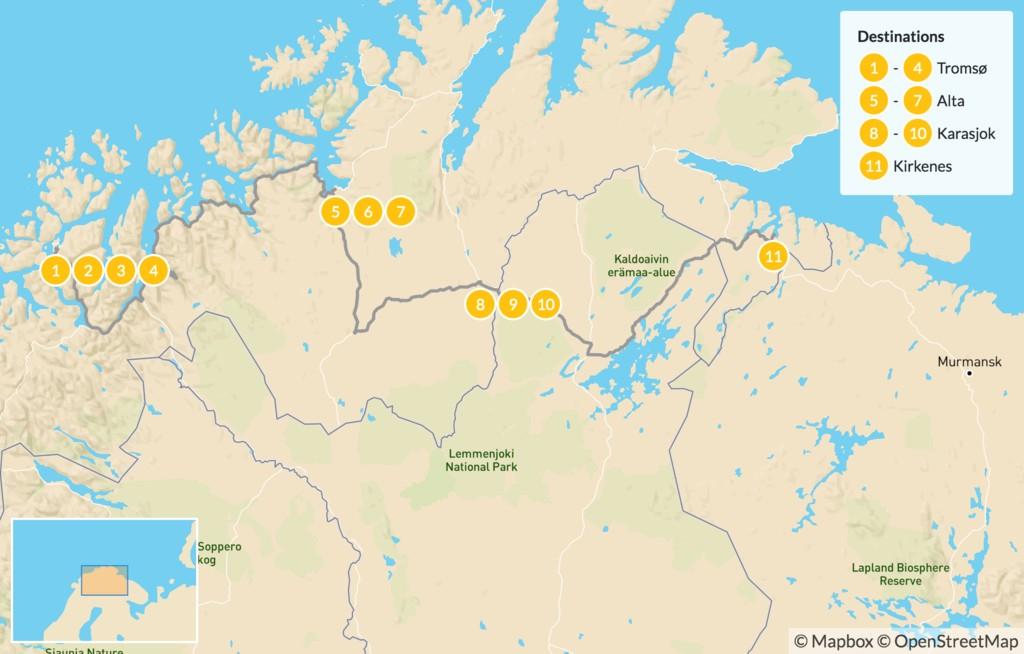Map of Tromsø to Kirkenes Winter Adventure - 12 Days