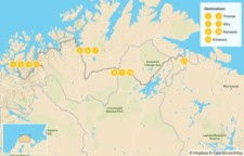 Map thumbnail of Tromsø to Kirkenes Winter Adventure - 12 Days