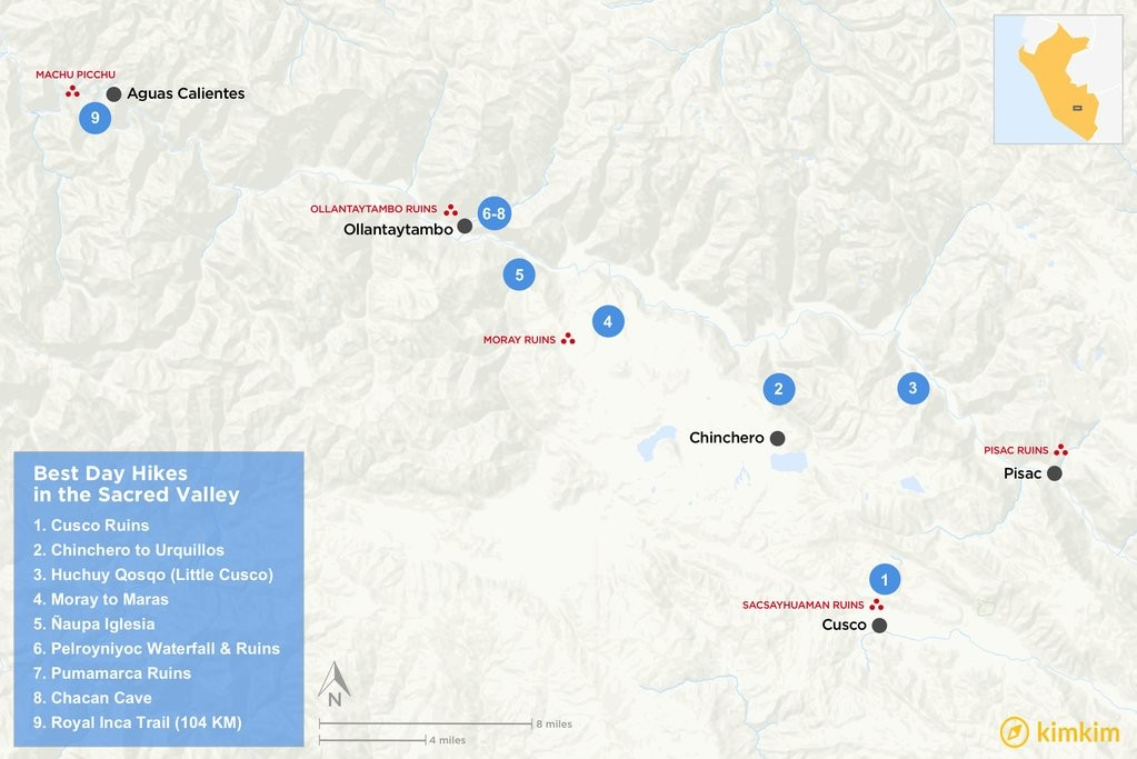 Map of Best Day Hikes in the Sacred Valley near Cusco