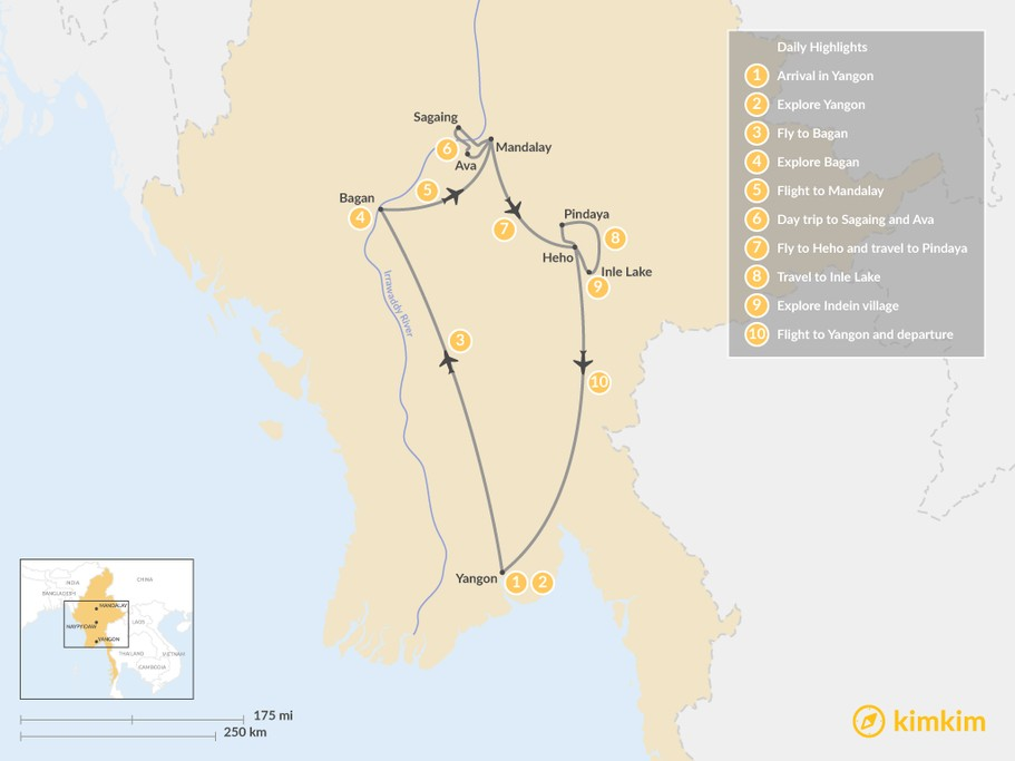 Map of Highlights of Myanmar - 10 Day Tour
