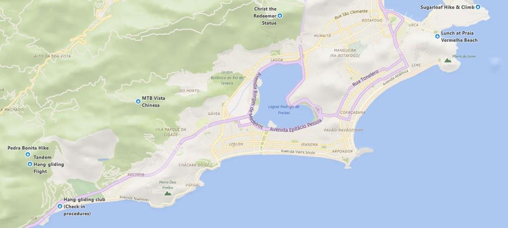 Map of Full Rio de Janeiro Adventure - 2 Days