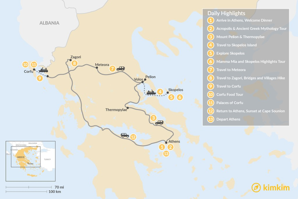 Map of Central Greece, Skopelos & Corfu Exploration - 13 Days