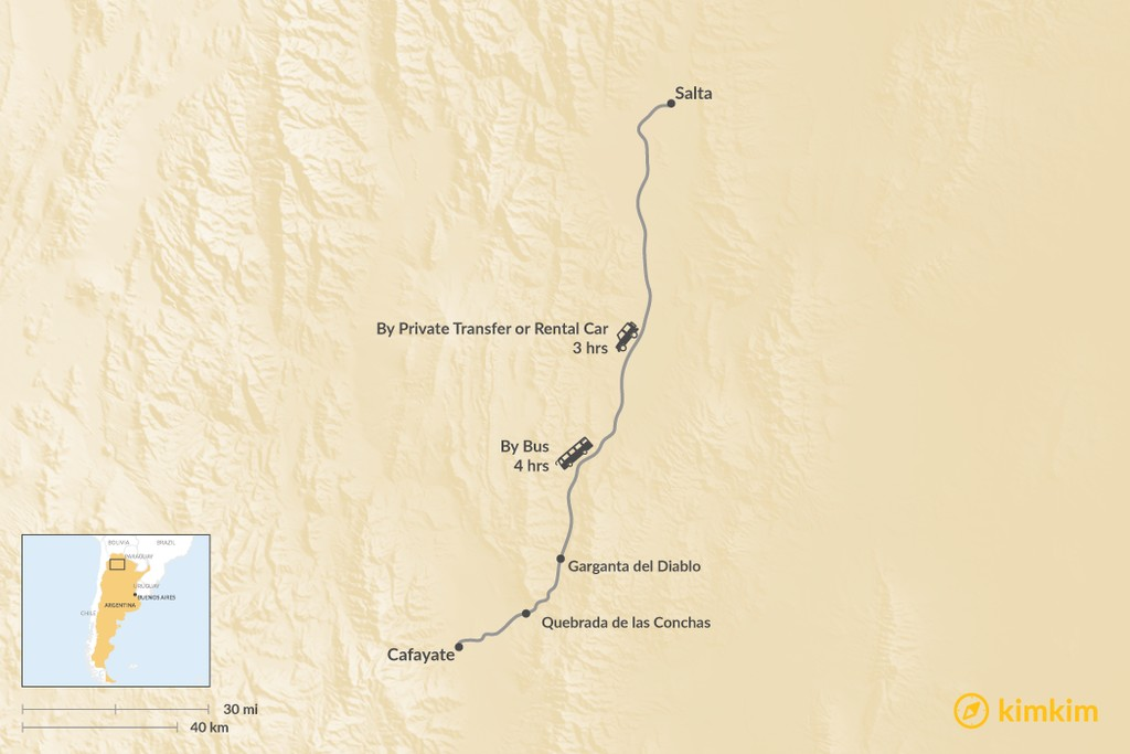 Map of How to Get from Salta to Cafayate