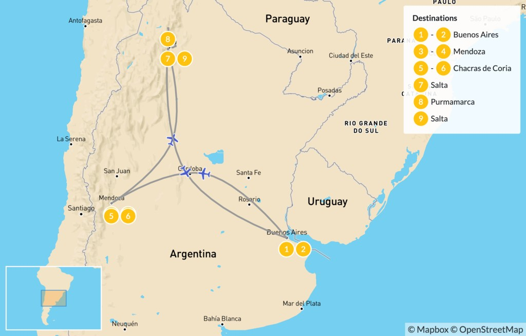 Map of Classic Argentina: Mendoza & Salta - 10 Days