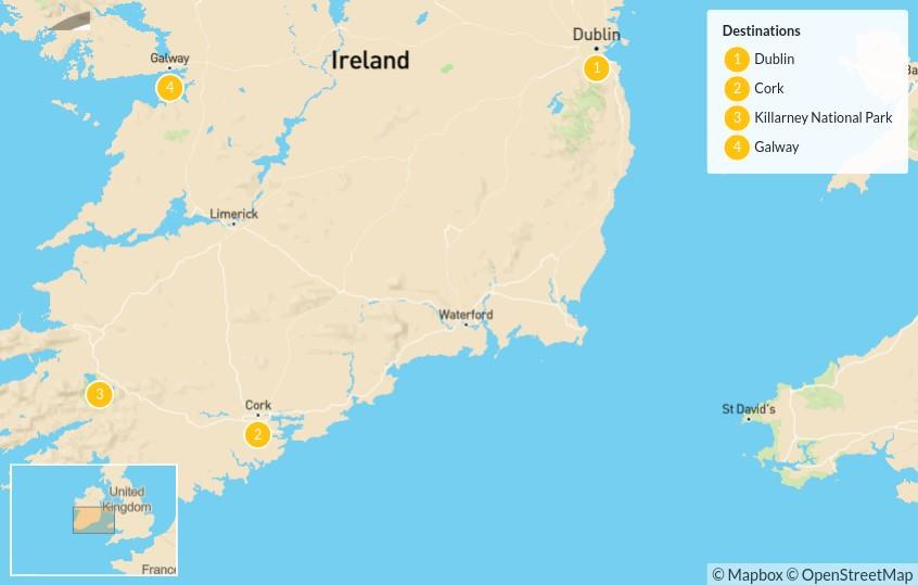 Map of Ultimate Ireland Road Trip: Dublin, Cork, Killarney & Galway - 5 Days