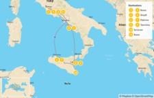 Map thumbnail of Rome, Amalfi Coast, & Sicily - 12 Days