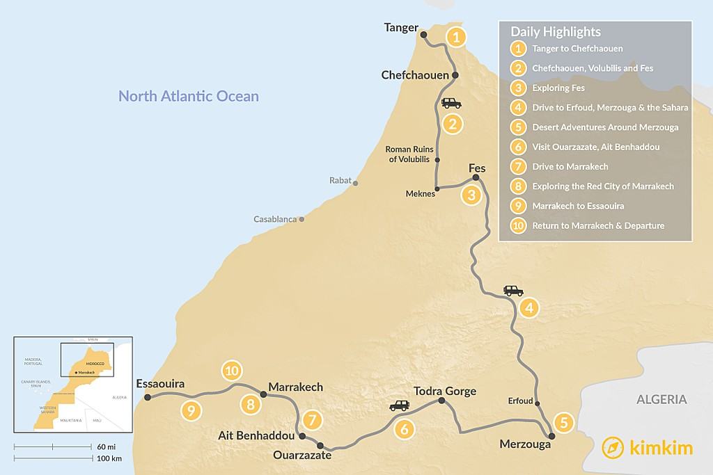 Map of Grand Morocco Tour: North to South - 10 Days