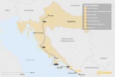 Map thumbnail of Highlights of Croatia: Zagreb, Plitvice, Korčula, & Dubrovnik - 7 Days