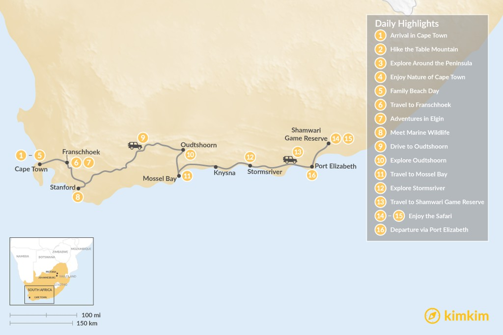 Map of South Africa Family Adventure: Cape Town, Winelands, Garden Route, Safari, & More - 16 Days