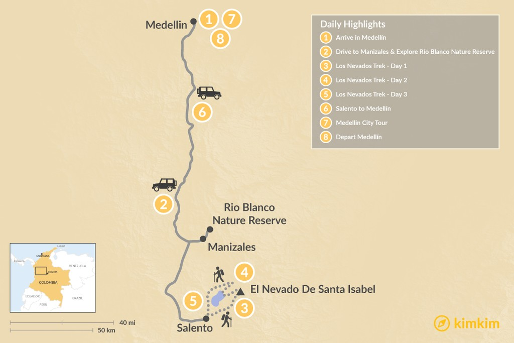 Map of Colombia Outdoor Adventure: Medellín & Los Nevados Trek - 8 Days