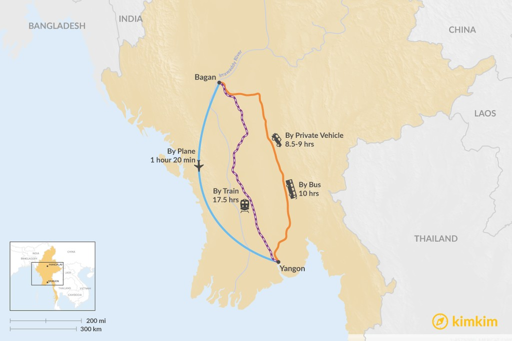 Map of How to Get from Bagan to Yangon