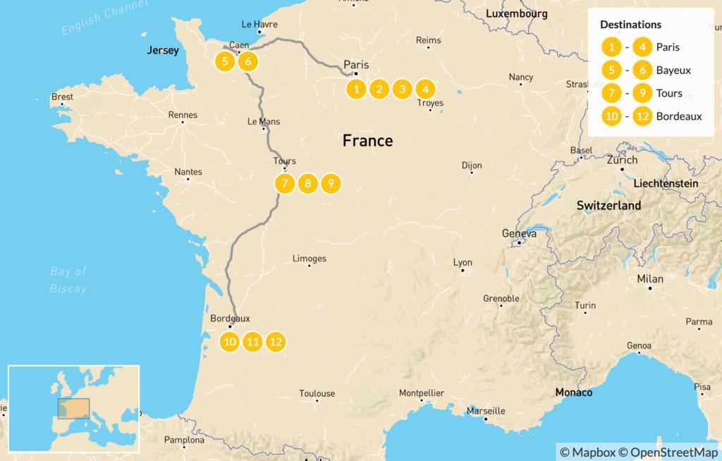 Map of Road Trip Through Western France: Paris, Normandy, Loire Valley, & Bordeaux - 13 Days