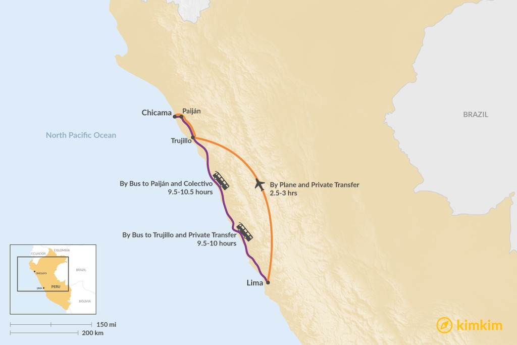 Map of How to Get from Lima to Puerto Chicama