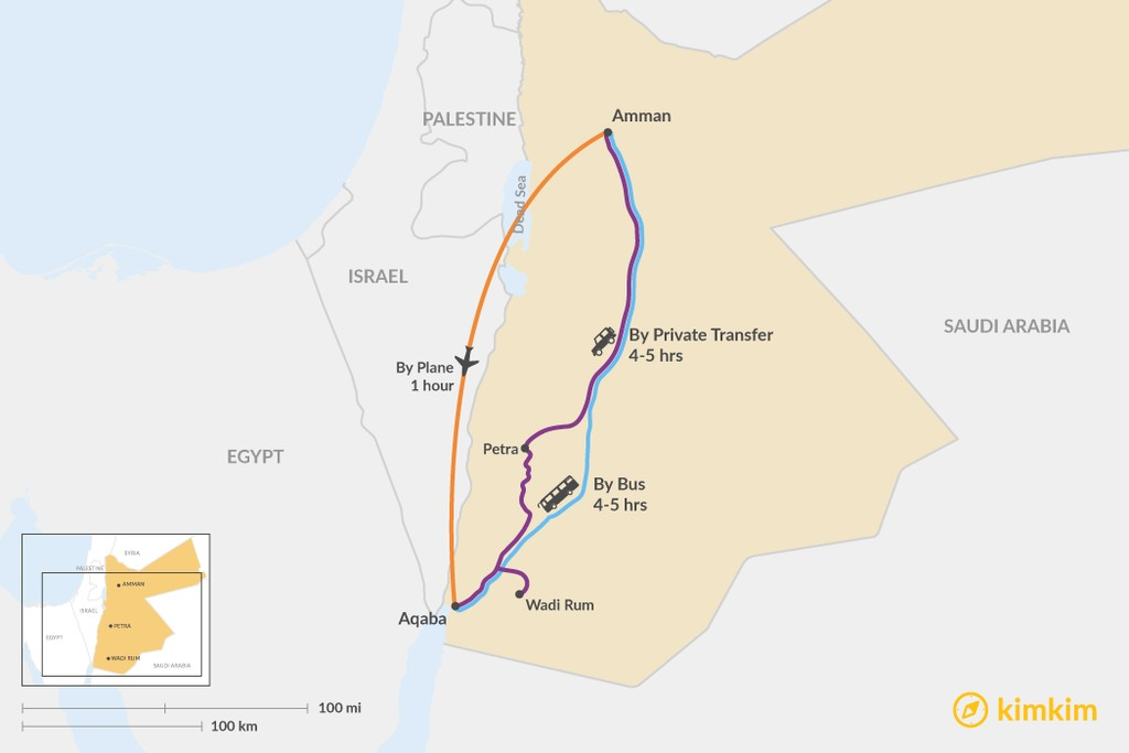 Map of How to Get from Amman to Aqaba
