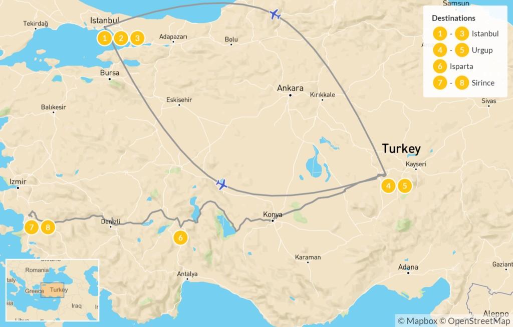 Map of Wonders of Turkey: Istanbul, Cappadocia, Ephesus - 9 Days