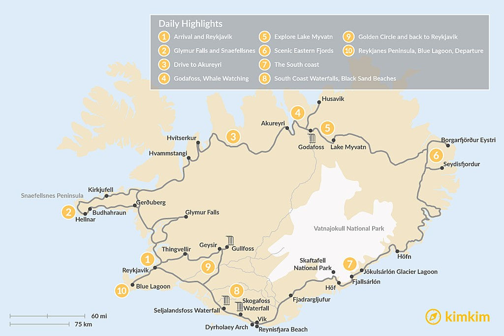 Map of Iceland Relaxed Ring Road Adventure - 10 Days