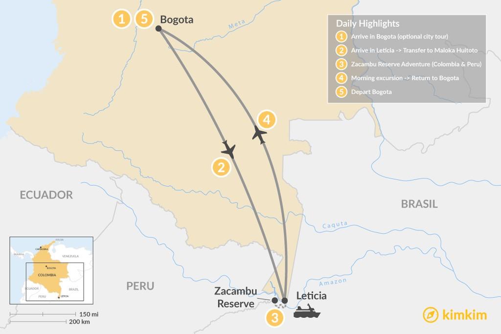 Map of Bogotá & the Amazon Adventure - 5 Days