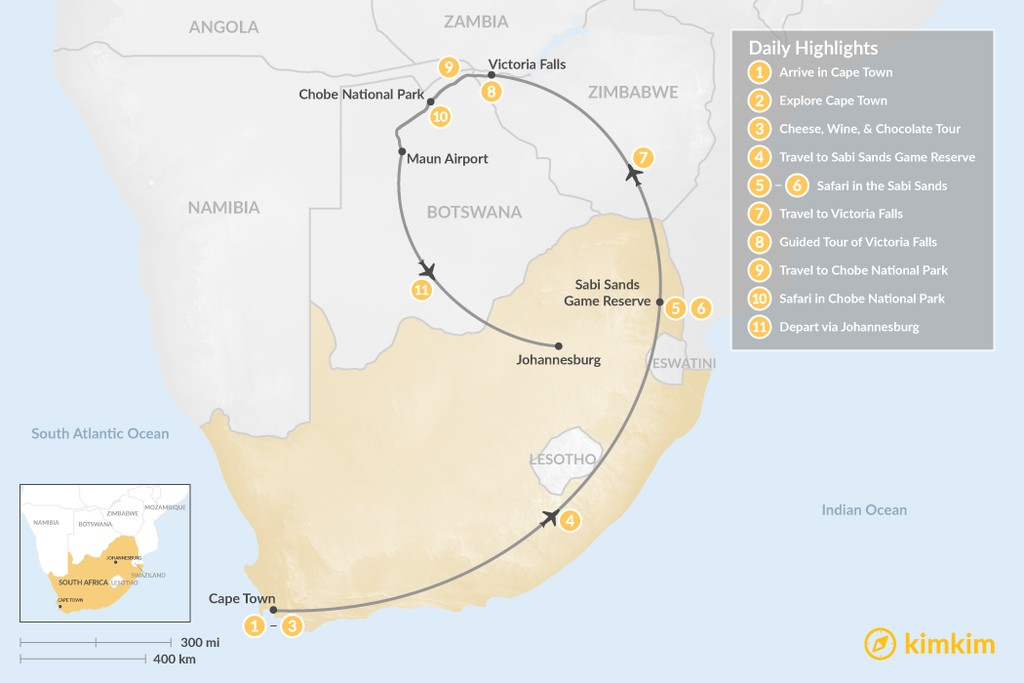 Map of Southern Africa Safari: Cape Town, Victoria Falls, Chobe National Park, & More - 11 Days