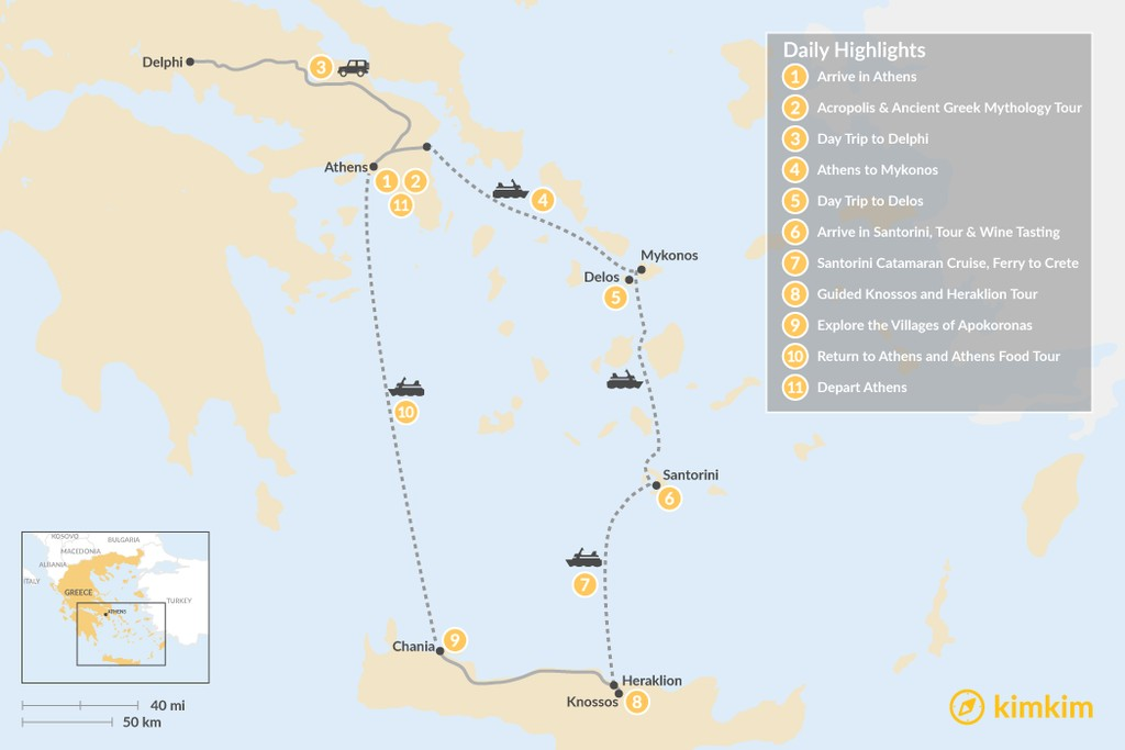 Map of Discover Athens, Mykonos, Santorini, and Crete - 11 Days