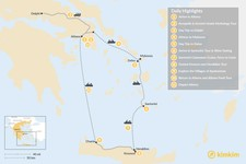 Map thumbnail of Discover Athens, Mykonos, Santorini, and Crete - 11 Days