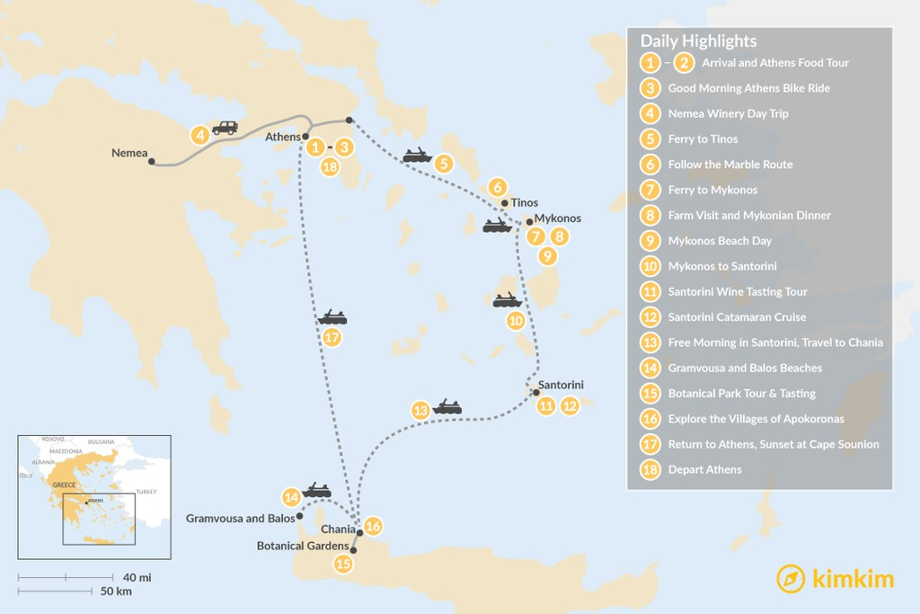 Map of Laid-Back Athens, Tinos, Mykonos, Santorini, and Crete - 18 Days