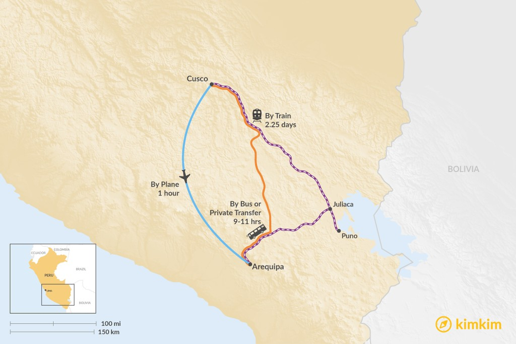 Map of How to Get from Cusco to Arequipa