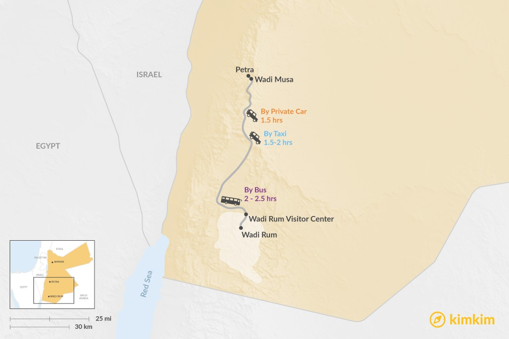 Map of How to Get from Petra to Wadi Rum