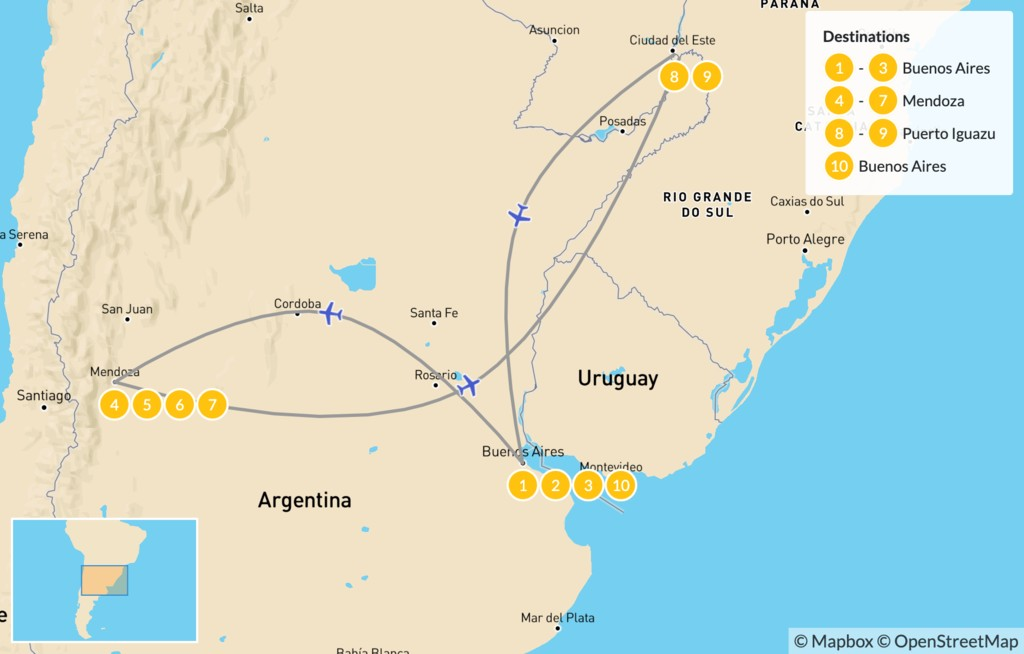 Map of Buenos Aires, Mendoza, & Iguazú - 11 Days