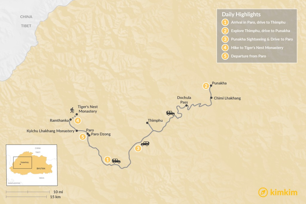 Map of Highlights of Bhutan - 5 Days