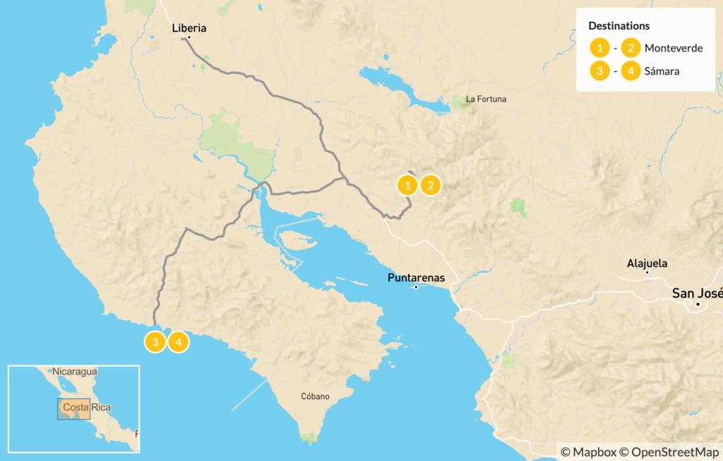 Map of Monteverde & Samara - 5 Days