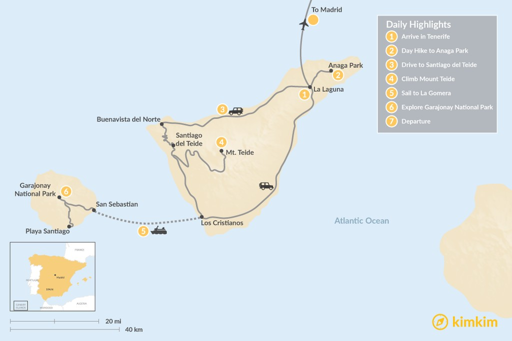 Map of Wild Canary Islands Road Trip: Tenerife, La Gomera & Madrid- 7 Days